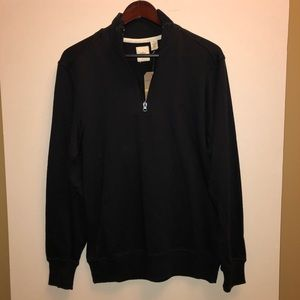 NWT Dockers Black Pull Over Zip Up Sweater sz S